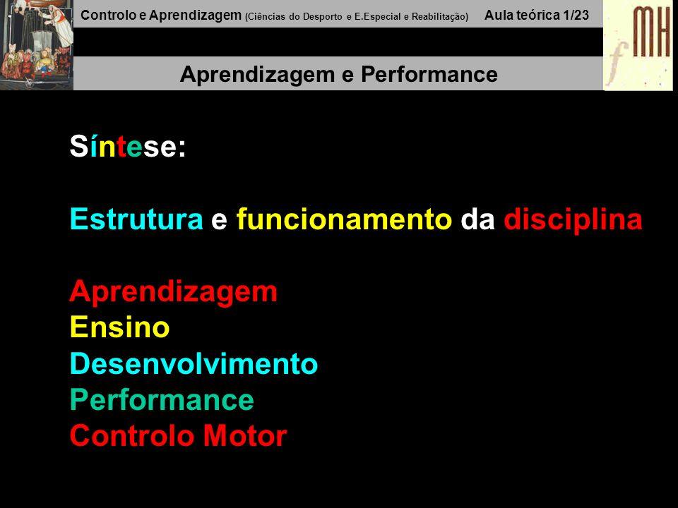 Controlo e Aprendizagem (Ciências do Desporto e E.Especial e Reabilitação) Aula teórica 1/23 Aprendizagem e Performance Síntese: Estrutura e funcionamento da disciplina Aprendizagem Ensino Desenvolvimento Performance Controlo Motor
