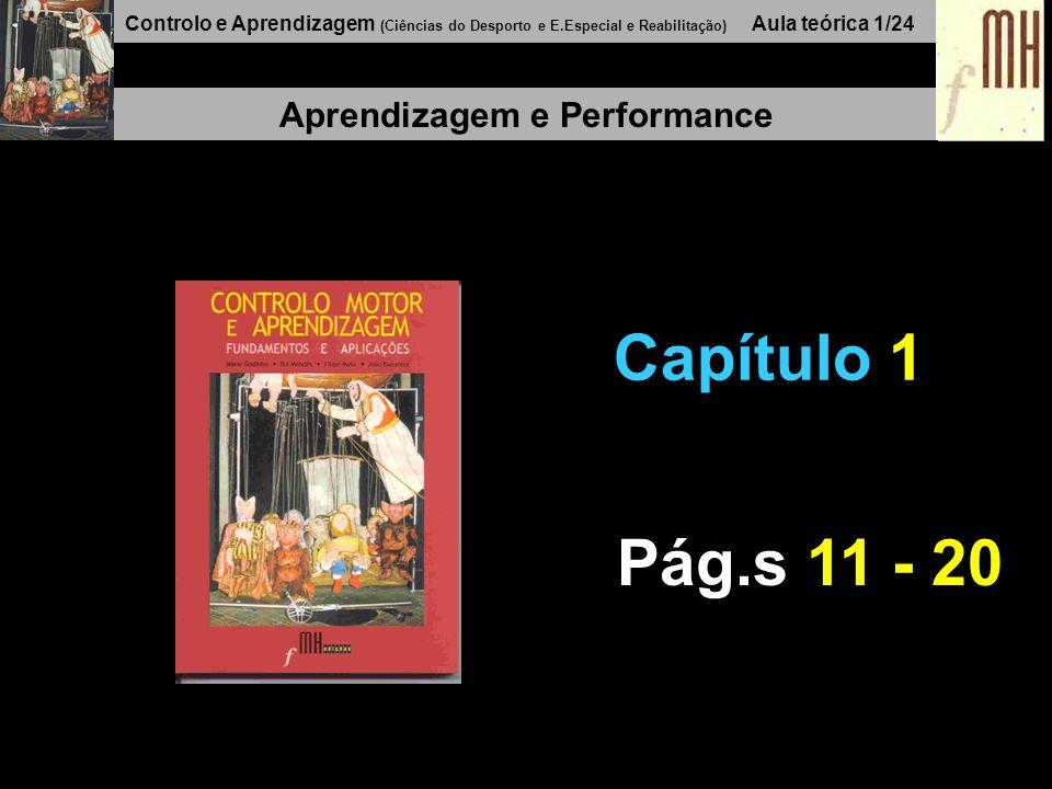 Controlo e Aprendizagem (Ciências do Desporto e E.Especial e Reabilitação) Aula teórica 1/24 Aprendizagem e Performance Capítulo 1 Pág.s 11 - 20