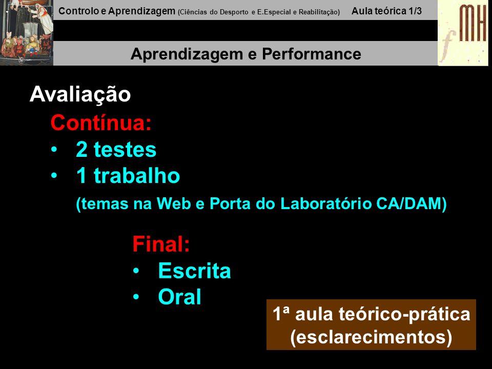 Controlo e Aprendizagem (Ciências do Desporto e E.Especial e Reabilitação) Aula teórica 1/3 Aprendizagem e Performance Avaliação Contínua: 2 testes 1 trabalho (temas na Web e Porta do Laboratório CA/DAM) 1ª aula teórico-prática (esclarecimentos) Final: Escrita Oral