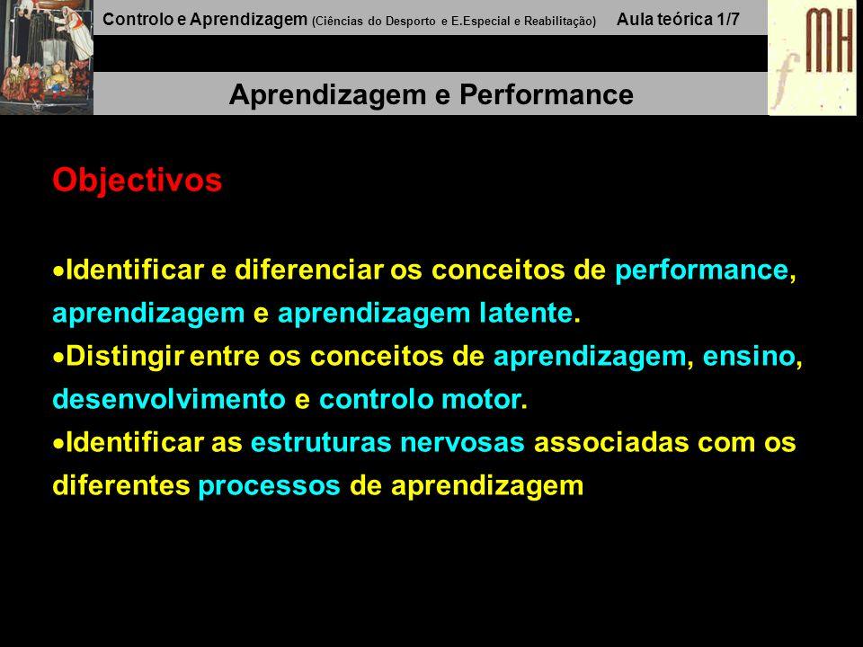 Controlo e Aprendizagem (Ciências do Desporto e E.Especial e Reabilitação) Aula teórica 1/7 Aprendizagem e Performance Objectivos Identificar e diferenciar os conceitos de performance, aprendizagem e aprendizagem latente.