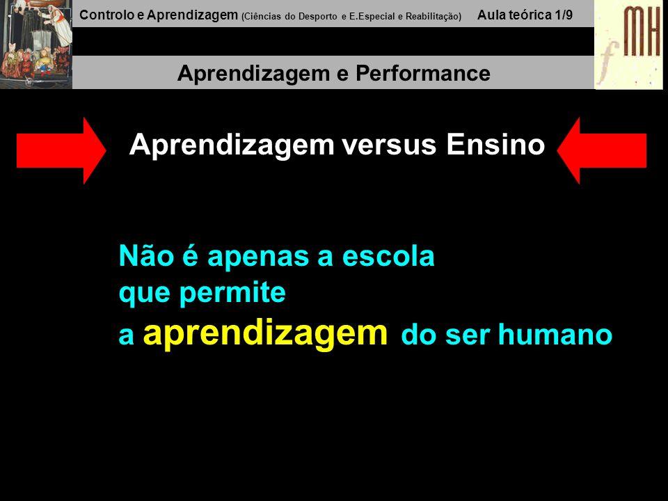Controlo e Aprendizagem (Ciências do Desporto e E.Especial e Reabilitação) Aula teórica 1/9 Aprendizagem e Performance Aprendizagem versus Ensino Não é apenas a escola que permite a aprendizagem do ser humano