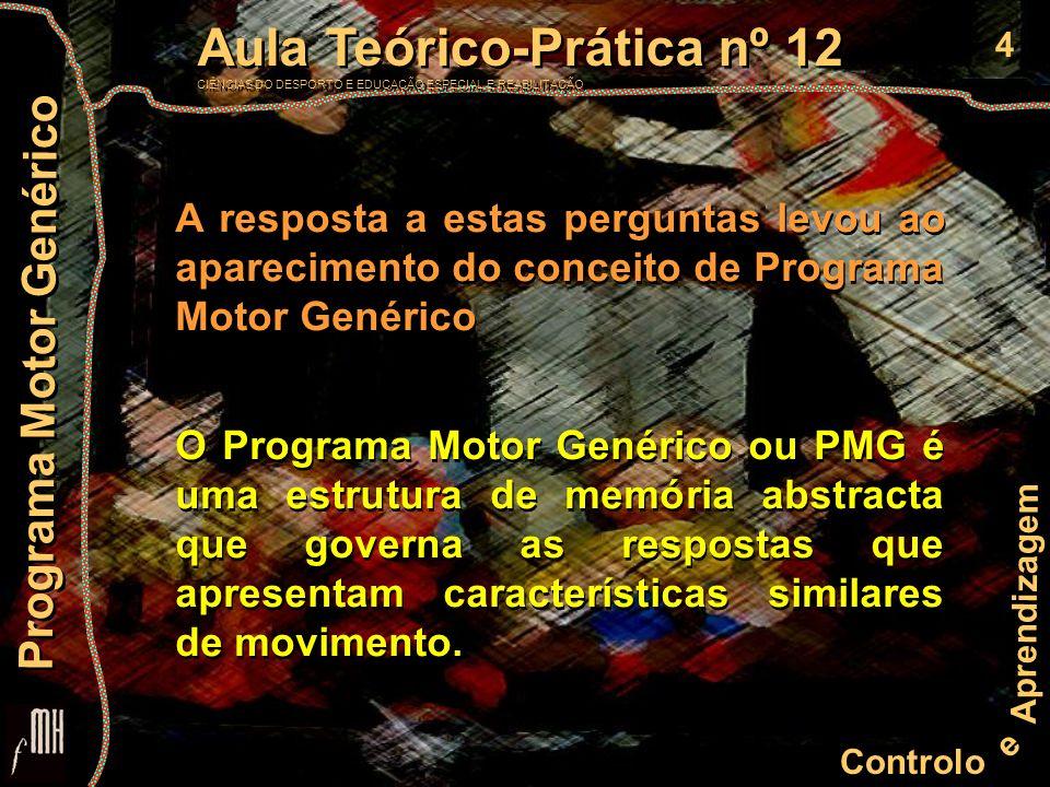 4 Controlo e Aprendizagem Aula Teórico-Prática nº 12 CIÊNCIAS DO DESPORTO E EDUCAÇÃO ESPECIAL E REABILITAÇÃO Aula Teórico-Prática nº 12 CIÊNCIAS DO DESPORTO E EDUCAÇÃO ESPECIAL E REABILITAÇÃO Programa Motor Genérico A resposta a estas perguntas levou ao aparecimento do conceito de Programa Motor Genérico O Programa Motor Genérico ou PMG é uma estrutura de memória abstracta que governa as respostas que apresentam características similares de movimento.