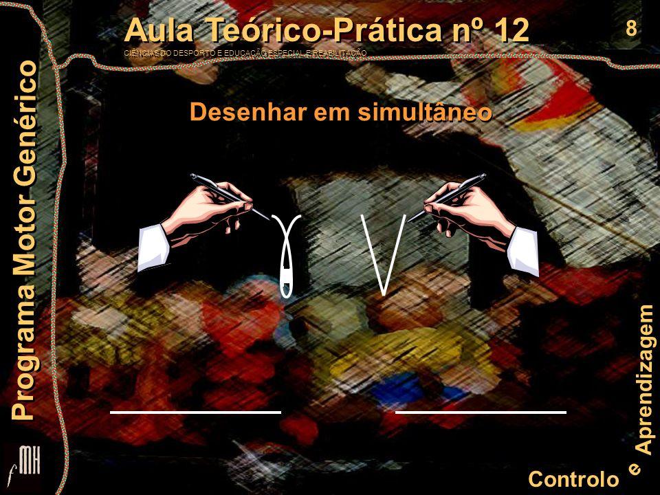 8 Controlo e Aprendizagem Aula Teórico-Prática nº 12 CIÊNCIAS DO DESPORTO E EDUCAÇÃO ESPECIAL E REABILITAÇÃO Aula Teórico-Prática nº 12 CIÊNCIAS DO DESPORTO E EDUCAÇÃO ESPECIAL E REABILITAÇÃO Programa Motor Genérico Desenhar em simultâneo
