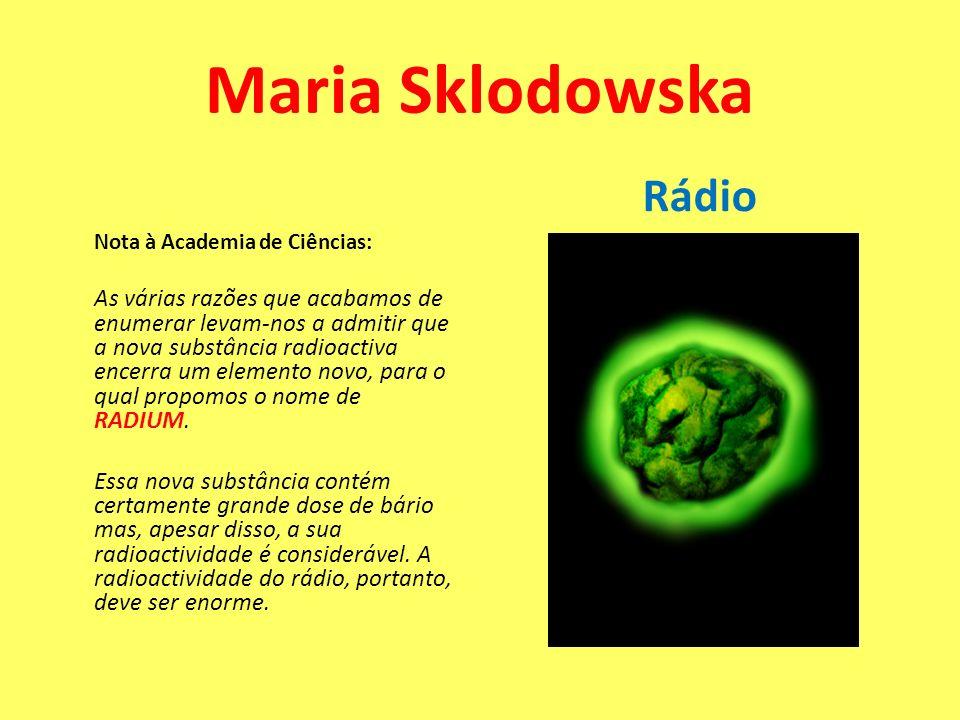 Nota à Academia de Ciências: As várias razões que acabamos de enumerar levam-nos a admitir que a nova substância radioactiva encerra um elemento novo,