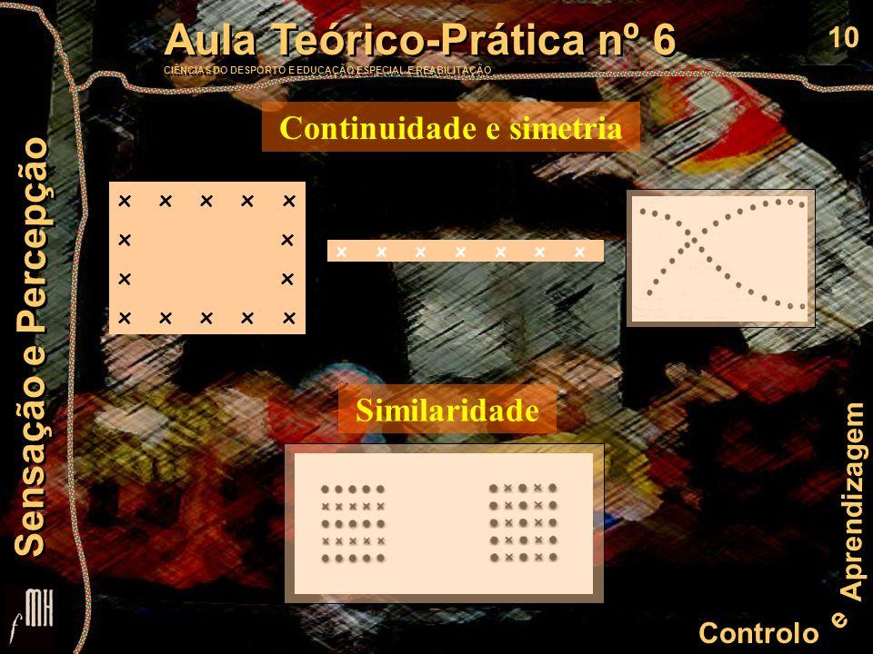10 Controlo e Aprendizagem Aula Teórico-Prática nº 6 CIÊNCIAS DO DESPORTO E EDUCAÇÃO ESPECIAL E REABILITAÇÃO Aula Teórico-Prática nº 6 CIÊNCIAS DO DESPORTO E EDUCAÇÃO ESPECIAL E REABILITAÇÃO Sensação e Percepção Similaridade Continuidade e simetria x x x x x x x x x x x x x x x x x x