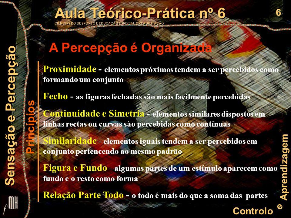 6 Controlo e Aprendizagem Aula Teórico-Prática nº 6 CIÊNCIAS DO DESPORTO E EDUCAÇÃO ESPECIAL E REABILITAÇÃO Aula Teórico-Prática nº 6 CIÊNCIAS DO DESPORTO E EDUCAÇÃO ESPECIAL E REABILITAÇÃO Sensação e Percepção A Percepção é Organizada Princípios Proximidade - elementos próximos tendem a ser percebidos como formando um conjunto Fecho - as figuras fechadas são mais facilmente percebidas Continuidade e Simetria - elementos similares dispostos em linhas rectas ou curvas são percebidas como contínuas Similaridade - elementos iguais tendem a ser percebidos em conjunto pertencendo ao mesmo padrão Figura e Fundo - algumas partes de um estímulo aparecem como fundo e o resto como forma Relação Parte Todo - o todo é mais do que a soma das partes