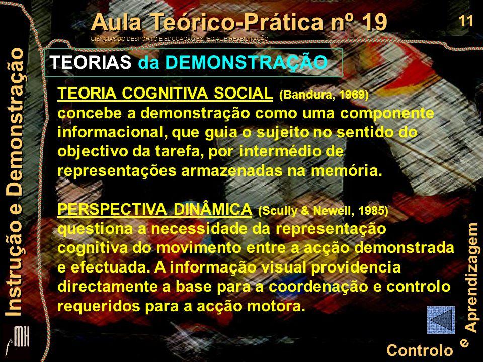 11 Controlo e Aprendizagem Aula Teórico-Prática nº 19 CIÊNCIAS DO DESPORTO E EDUCAÇÃO ESPECIAL E REABILITAÇÃO Aula Teórico-Prática nº 19 CIÊNCIAS DO D