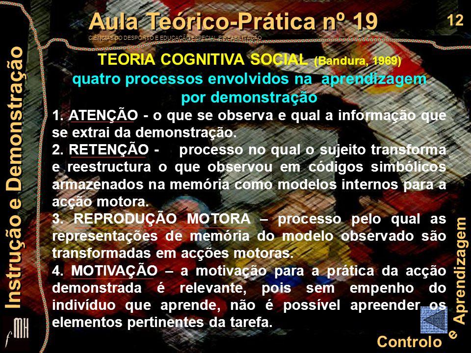 12 Controlo e Aprendizagem Aula Teórico-Prática nº 19 CIÊNCIAS DO DESPORTO E EDUCAÇÃO ESPECIAL E REABILITAÇÃO Aula Teórico-Prática nº 19 CIÊNCIAS DO D