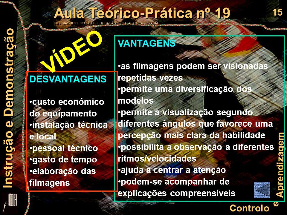 15 Controlo e Aprendizagem Aula Teórico-Prática nº 19 CIÊNCIAS DO DESPORTO E EDUCAÇÃO ESPECIAL E REABILITAÇÃO Aula Teórico-Prática nº 19 CIÊNCIAS DO D