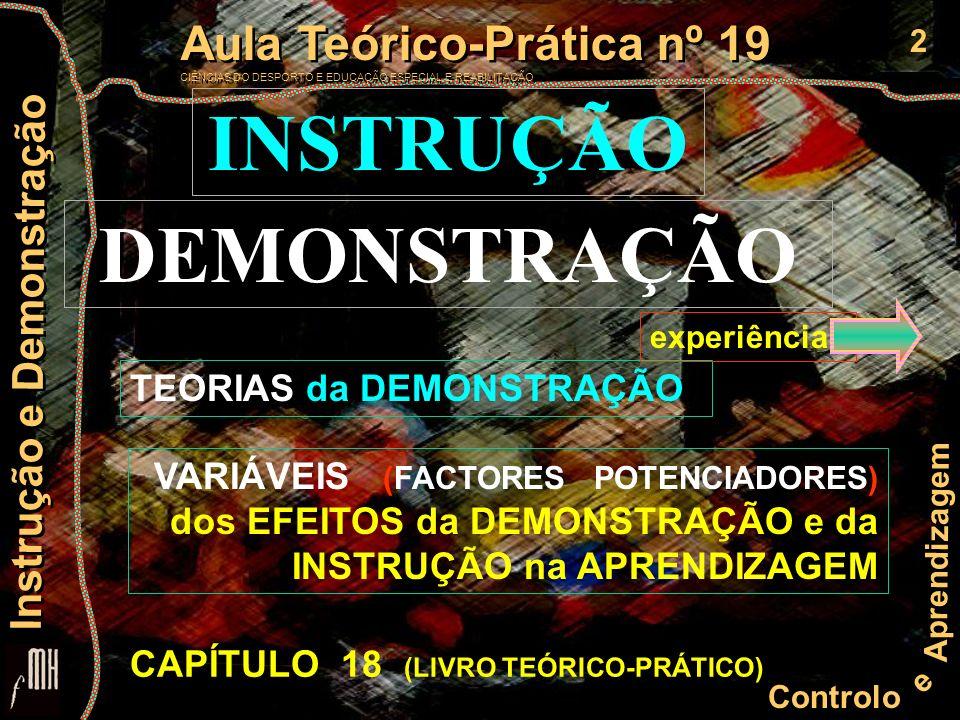 13 Controlo e Aprendizagem Aula Teórico-Prática nº 19 CIÊNCIAS DO DESPORTO E EDUCAÇÃO ESPECIAL E REABILITAÇÃO Aula Teórico-Prática nº 19 CIÊNCIAS DO DESPORTO E EDUCAÇÃO ESPECIAL E REABILITAÇÃO Instrução e Demonstração Variáveis da demonstração 1- Nível de desempenho do modelo (demonstração com ou sem erro) 2- O sujeito da demonstração (estatuto, idade do demonstrador e similaridade) 3- Frequência e momento da demonstração 4- Forma da demonstração 5- Timing da demonstração 6- Características da habilidade motora 7- Velocidade da demonstração