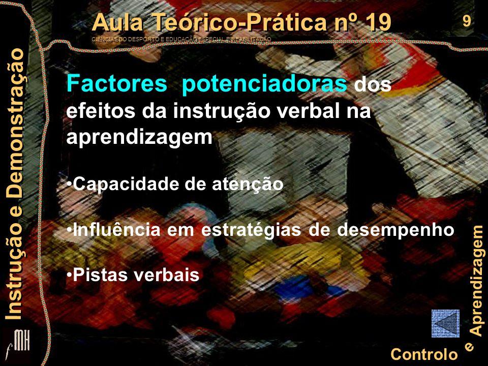 10 Controlo e Aprendizagem Aula Teórico-Prática nº 19 CIÊNCIAS DO DESPORTO E EDUCAÇÃO ESPECIAL E REABILITAÇÃO Aula Teórico-Prática nº 19 CIÊNCIAS DO DESPORTO E EDUCAÇÃO ESPECIAL E REABILITAÇÃO Instrução e Demonstração TEORIAS da DEMONSTRAÇÃO BEHAVIORISTAS (Miller & Dollard, 1941) demonstração entendida como um mecanismo de imitação, não mediado por quaisquer operações cognitivas.