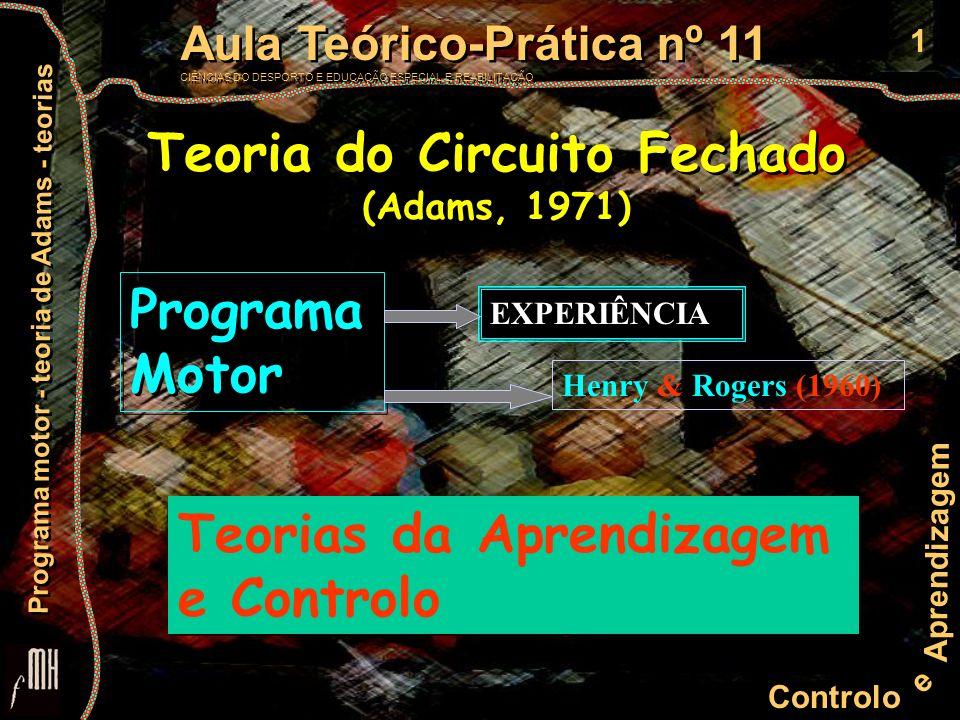 2 Controlo e Aprendizagem Aula Teórico-Prática nº 11 CIÊNCIAS DO DESPORTO E EDUCAÇÃO ESPECIAL E REABILITAÇÃO Aula Teórico-Prática nº 11 CIÊNCIAS DO DESPORTO E EDUCAÇÃO ESPECIAL E REABILITAÇÃO Programa motor - teoria de Adams - teorias Teoria do Circuito Fechado (Adams, 1971) Teoria do Circuito Fechado (Adams, 1971)Fase de lançamento controlo Centro de ComandoEfectorResultado IRR Traço Perceptivo Traço de Memória M e m ó r i a