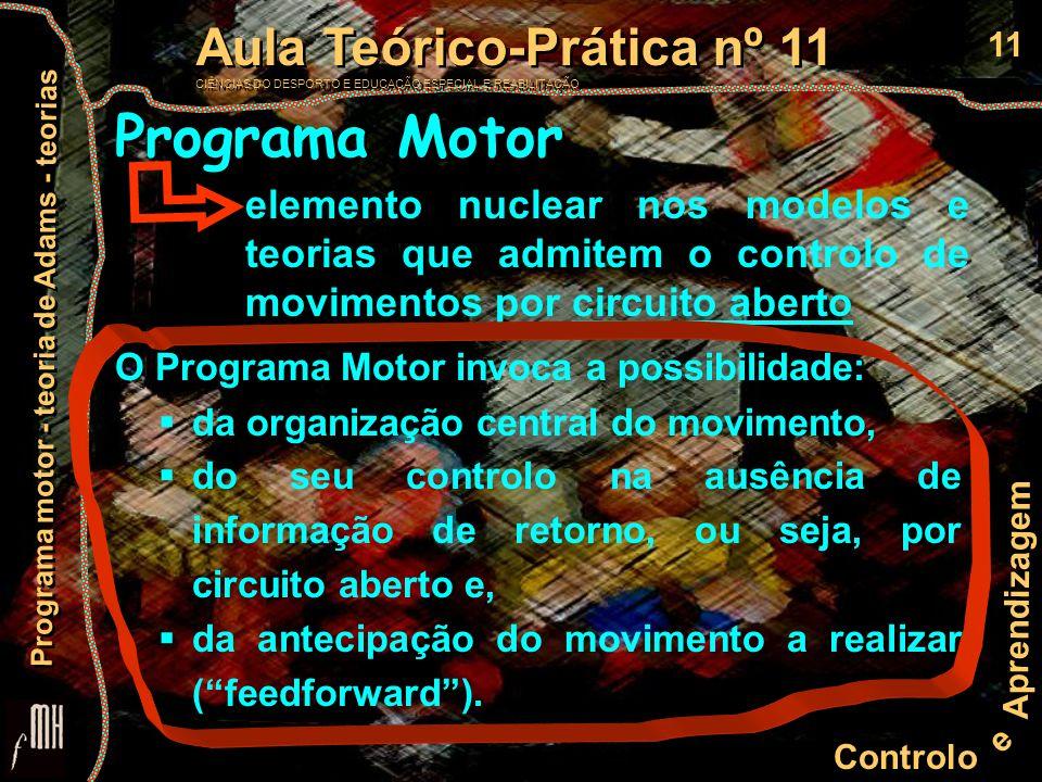 11 Controlo e Aprendizagem Aula Teórico-Prática nº 11 CIÊNCIAS DO DESPORTO E EDUCAÇÃO ESPECIAL E REABILITAÇÃO Aula Teórico-Prática nº 11 CIÊNCIAS DO D