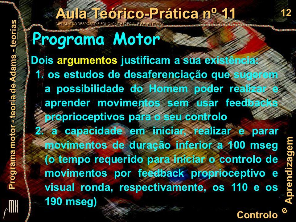 12 Controlo e Aprendizagem Aula Teórico-Prática nº 11 CIÊNCIAS DO DESPORTO E EDUCAÇÃO ESPECIAL E REABILITAÇÃO Aula Teórico-Prática nº 11 CIÊNCIAS DO D