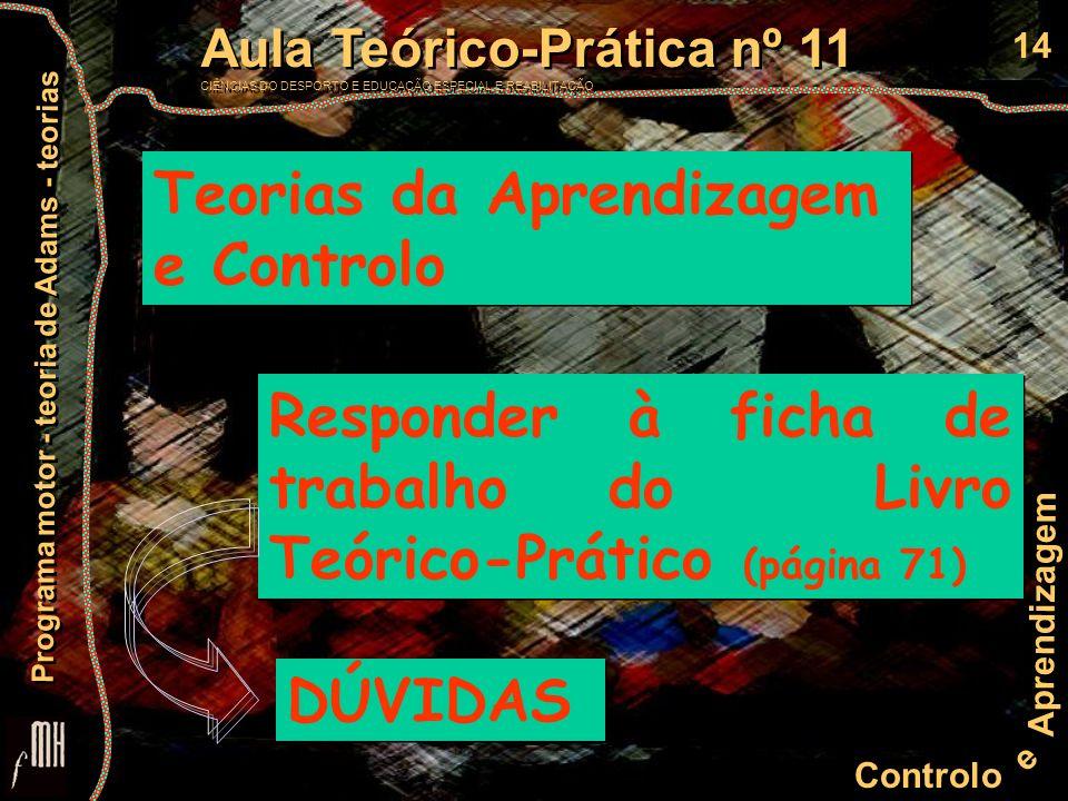 14 Controlo e Aprendizagem Aula Teórico-Prática nº 11 CIÊNCIAS DO DESPORTO E EDUCAÇÃO ESPECIAL E REABILITAÇÃO Aula Teórico-Prática nº 11 CIÊNCIAS DO D