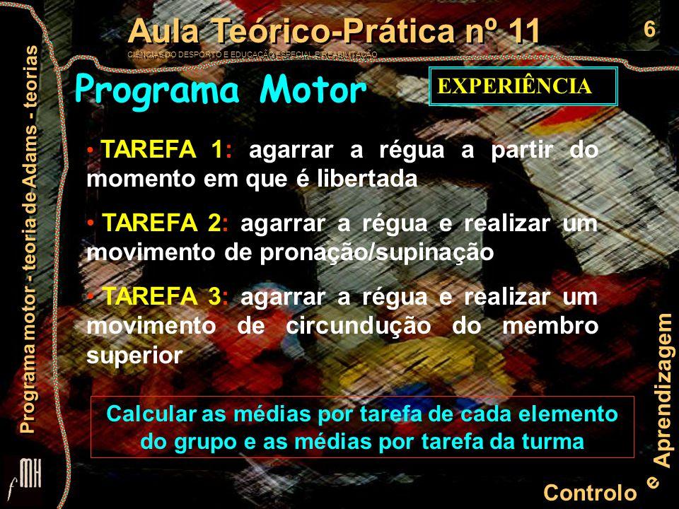 7 Controlo e Aprendizagem Aula Teórico-Prática nº 11 CIÊNCIAS DO DESPORTO E EDUCAÇÃO ESPECIAL E REABILITAÇÃO Aula Teórico-Prática nº 11 CIÊNCIAS DO DESPORTO E EDUCAÇÃO ESPECIAL E REABILITAÇÃO Programa motor - teoria de Adams - teorias problemas metodológicos da experiência atenção motivação momento de largada da régua a régua tocar os dedos comportamento antecipativo Programa Motor EXPERIÊNCIA