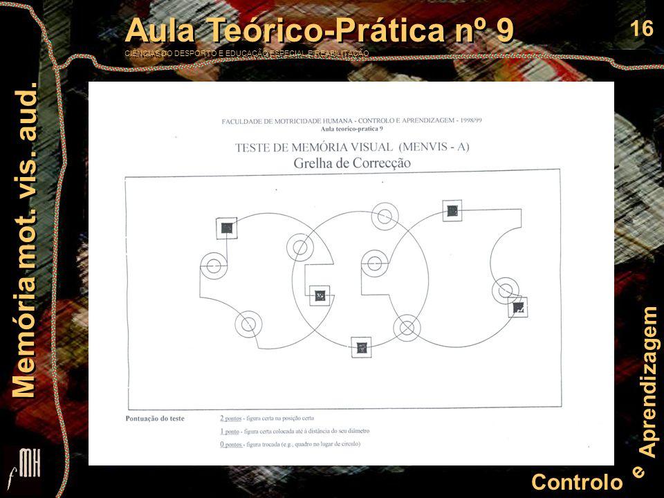 16 Controlo e Aprendizagem Aula Teórico-Prática nº 9 CIÊNCIAS DO DESPORTO E EDUCAÇÃO ESPECIAL E REABILITAÇÃO Aula Teórico-Prática nº 9 CIÊNCIAS DO DESPORTO E EDUCAÇÃO ESPECIAL E REABILITAÇÃO Memória mot.