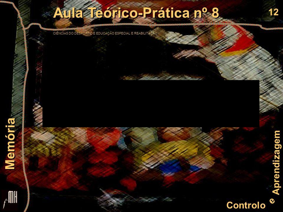 12 Controlo e Aprendizagem Aula Teórico-Prática nº 8 CIÊNCIAS DO DESPORTO E EDUCAÇÃO ESPECIAL E REABILITAÇÃO Aula Teórico-Prática nº 8 CIÊNCIAS DO DES