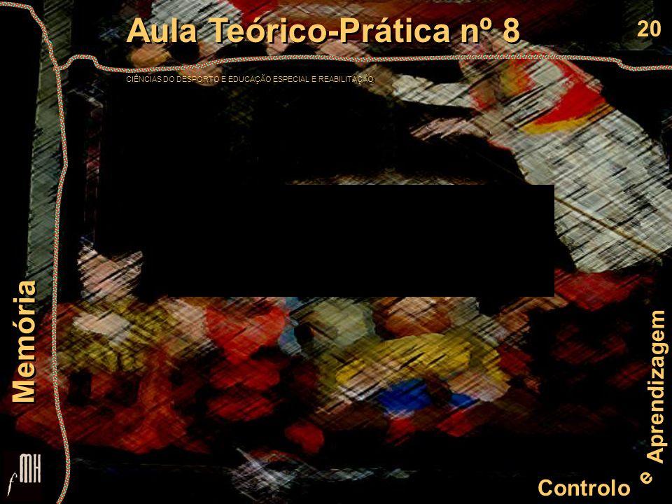20 Controlo e Aprendizagem Aula Teórico-Prática nº 8 CIÊNCIAS DO DESPORTO E EDUCAÇÃO ESPECIAL E REABILITAÇÃO Aula Teórico-Prática nº 8 CIÊNCIAS DO DES