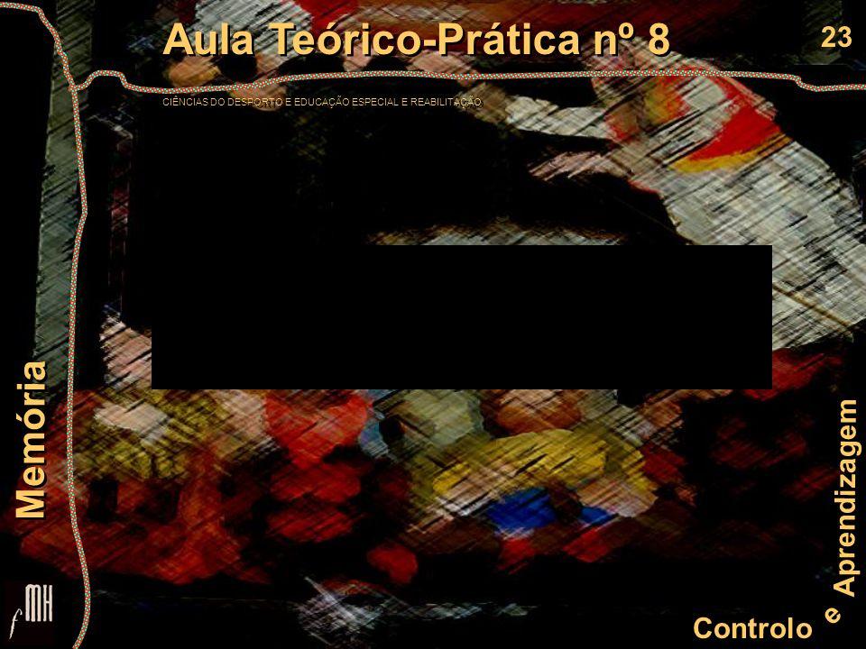 23 Controlo e Aprendizagem Aula Teórico-Prática nº 8 CIÊNCIAS DO DESPORTO E EDUCAÇÃO ESPECIAL E REABILITAÇÃO Aula Teórico-Prática nº 8 CIÊNCIAS DO DES