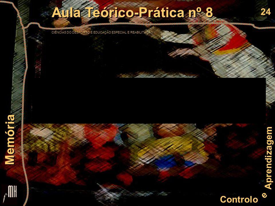 24 Controlo e Aprendizagem Aula Teórico-Prática nº 8 CIÊNCIAS DO DESPORTO E EDUCAÇÃO ESPECIAL E REABILITAÇÃO Aula Teórico-Prática nº 8 CIÊNCIAS DO DES