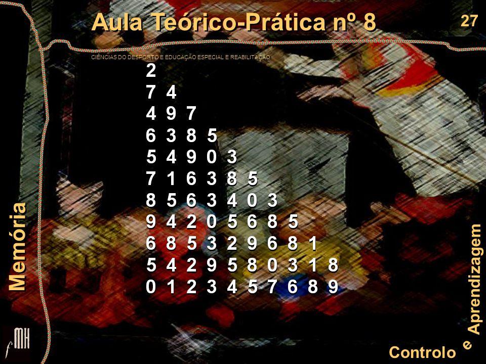 27 Controlo e Aprendizagem Aula Teórico-Prática nº 8 CIÊNCIAS DO DESPORTO E EDUCAÇÃO ESPECIAL E REABILITAÇÃO Aula Teórico-Prática nº 8 CIÊNCIAS DO DESPORTO E EDUCAÇÃO ESPECIAL E REABILITAÇÃO Memória