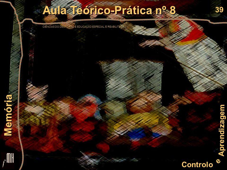 39 Controlo e Aprendizagem Aula Teórico-Prática nº 8 CIÊNCIAS DO DESPORTO E EDUCAÇÃO ESPECIAL E REABILITAÇÃO Aula Teórico-Prática nº 8 CIÊNCIAS DO DES
