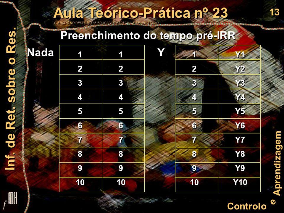 13 Controlo e Aprendizagem Aula Teórico-Prática nº 23 CIÊNCIAS DO DESPORTO E EDUCAÇÃO ESPECIAL E REABILITAÇÃO Aula Teórico-Prática nº 23 CIÊNCIAS DO DESPORTO E EDUCAÇÃO ESPECIAL E REABILITAÇÃO Inf.