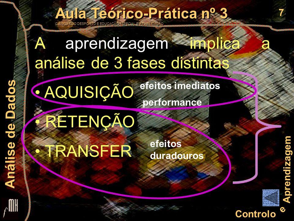 8 Controlo e Aprendizagem Aula Teórico-Prática nº 3 CIÊNCIAS DO DESPORTO E EDUCAÇÃO ESPECIAL E REABILITAÇÃO Aula Teórico-Prática nº 3 CIÊNCIAS DO DESPORTO E EDUCAÇÃO ESPECIAL E REABILITAÇÃO Análise de Dados BLOCOS de ENSAIOS ENSAIOS