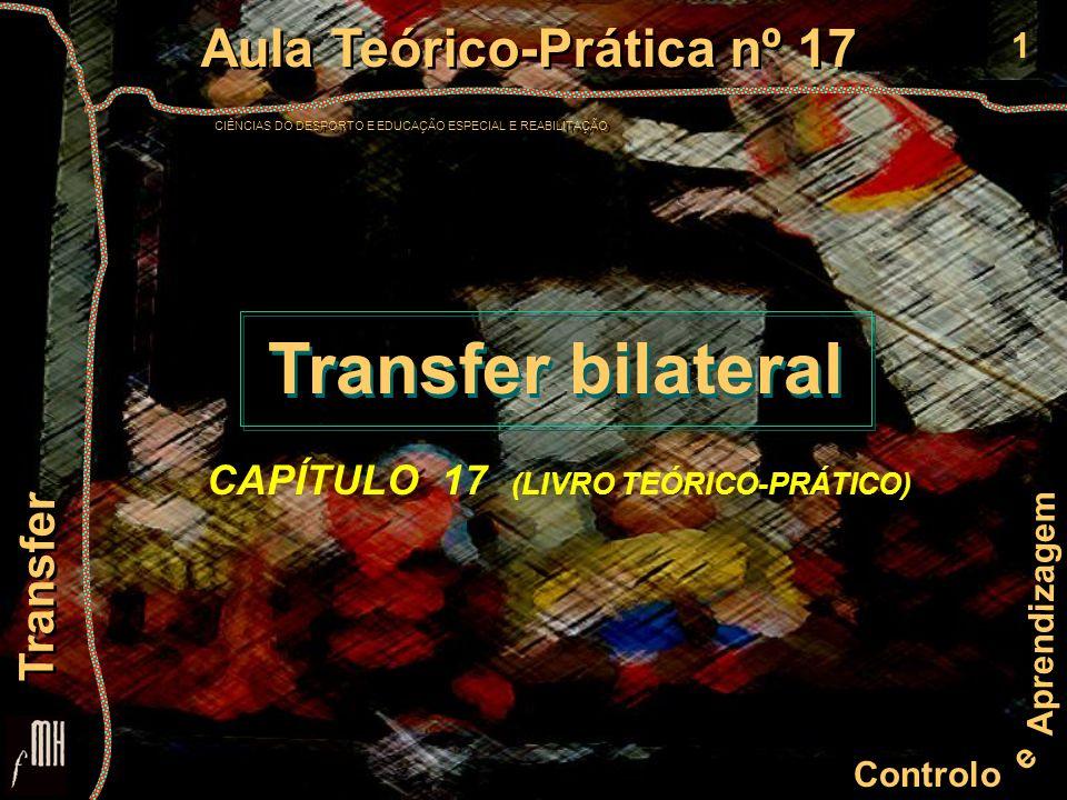 12 Controlo e Aprendizagem Aula Teórico-Prática nº 17 CIÊNCIAS DO DESPORTO E EDUCAÇÃO ESPECIAL E REABILITAÇÃO Aula Teórico-Prática nº 17 CIÊNCIAS DO DESPORTO E EDUCAÇÃO ESPECIAL E REABILITAÇÃO Transfer Procedimentos para Amplificar o Transfer de Aprendizagem Variabilidade das condições de prática Reduzir a frequência da IRR Maximizar a similitude entre ensino e prática em situação real Interferência contextual Simuladores da prática real Aumentar a prática na tarefa original Variar os exemplos ao ensinar conceitos e princípios Acentuar as componentes similares das habilidades Variabilidade das condições de prática Reduzir a frequência da IRR Maximizar a similitude entre ensino e prática em situação real Interferência contextual Simuladores da prática real Aumentar a prática na tarefa original Variar os exemplos ao ensinar conceitos e princípios Acentuar as componentes similares das habilidades