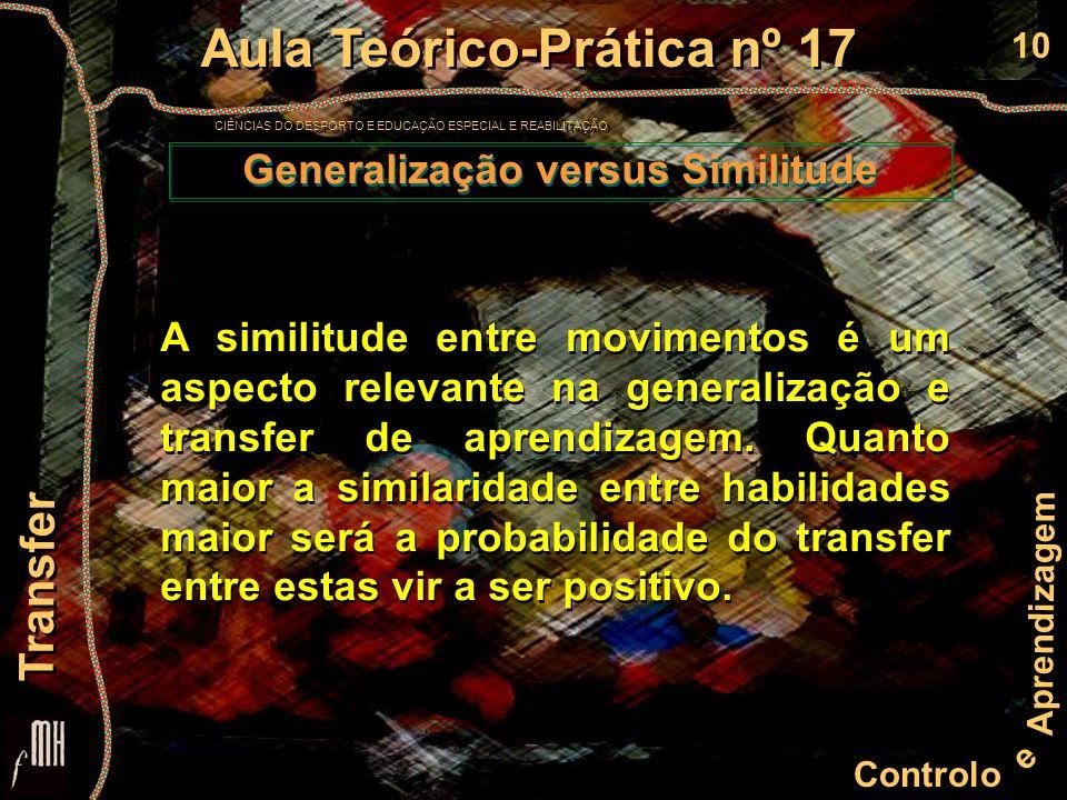 10 Controlo e Aprendizagem Aula Teórico-Prática nº 17 CIÊNCIAS DO DESPORTO E EDUCAÇÃO ESPECIAL E REABILITAÇÃO Aula Teórico-Prática nº 17 CIÊNCIAS DO D