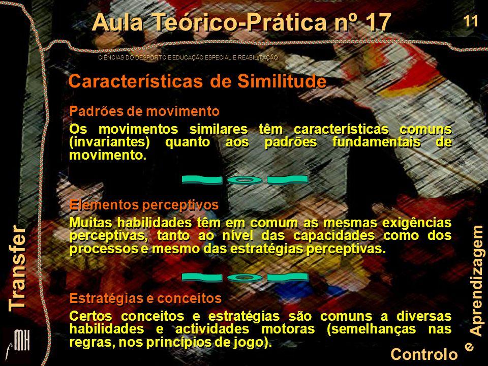 11 Controlo e Aprendizagem Aula Teórico-Prática nº 17 CIÊNCIAS DO DESPORTO E EDUCAÇÃO ESPECIAL E REABILITAÇÃO Aula Teórico-Prática nº 17 CIÊNCIAS DO DESPORTO E EDUCAÇÃO ESPECIAL E REABILITAÇÃO Transfer Padrões de movimento Os movimentos similares têm características comuns (invariantes) quanto aos padrões fundamentais de movimento.