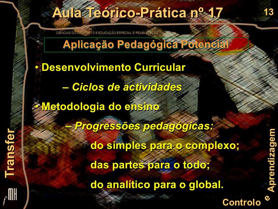 13 Controlo e Aprendizagem Aula Teórico-Prática nº 17 CIÊNCIAS DO DESPORTO E EDUCAÇÃO ESPECIAL E REABILITAÇÃO Aula Teórico-Prática nº 17 CIÊNCIAS DO DESPORTO E EDUCAÇÃO ESPECIAL E REABILITAÇÃO Transfer Aplicação Pedagógica Potencial Desenvolvimento Curricular – Ciclos de actividades Metodologia do ensino – Progressões pedagógicas: do simples para o complexo; das partes para o todo; do analítico para o global.