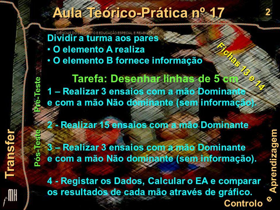 2 Controlo e Aprendizagem Aula Teórico-Prática nº 17 CIÊNCIAS DO DESPORTO E EDUCAÇÃO ESPECIAL E REABILITAÇÃO Aula Teórico-Prática nº 17 CIÊNCIAS DO DE