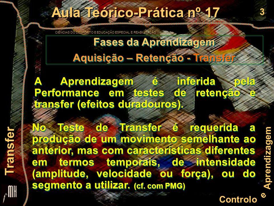 3 Controlo e Aprendizagem Aula Teórico-Prática nº 17 CIÊNCIAS DO DESPORTO E EDUCAÇÃO ESPECIAL E REABILITAÇÃO Aula Teórico-Prática nº 17 CIÊNCIAS DO DESPORTO E EDUCAÇÃO ESPECIAL E REABILITAÇÃO Transfer Fases da Aprendizagem Aquisição – Retenção - Transfer Fases da Aprendizagem Aquisição – Retenção - Transfer A Aprendizagem é inferida pela Performance em testes de retenção e transfer (efeitos duradouros).