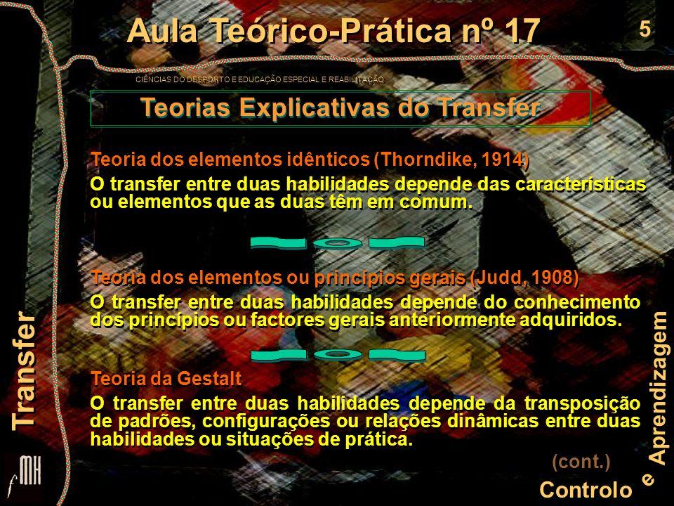 5 Controlo e Aprendizagem Aula Teórico-Prática nº 17 CIÊNCIAS DO DESPORTO E EDUCAÇÃO ESPECIAL E REABILITAÇÃO Aula Teórico-Prática nº 17 CIÊNCIAS DO DE