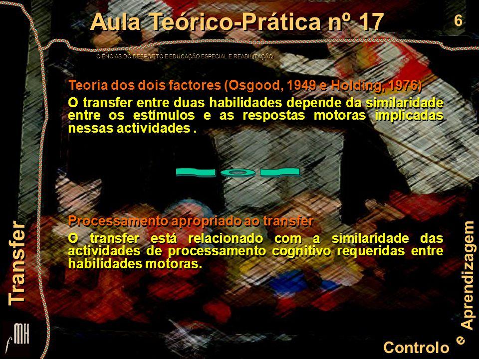 6 Controlo e Aprendizagem Aula Teórico-Prática nº 17 CIÊNCIAS DO DESPORTO E EDUCAÇÃO ESPECIAL E REABILITAÇÃO Aula Teórico-Prática nº 17 CIÊNCIAS DO DESPORTO E EDUCAÇÃO ESPECIAL E REABILITAÇÃO Transfer Teoria dos dois factores (Osgood, 1949 e Holding, 1976) O transfer entre duas habilidades depende da similaridade entre os estímulos e as respostas motoras implicadas nessas actividades.