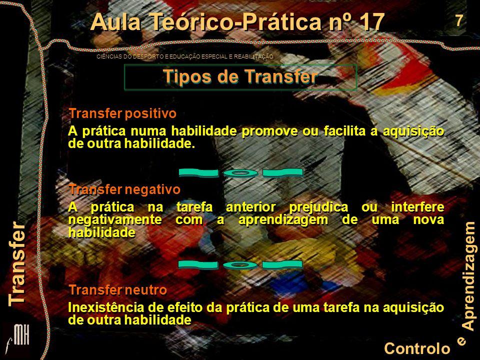 7 Controlo e Aprendizagem Aula Teórico-Prática nº 17 CIÊNCIAS DO DESPORTO E EDUCAÇÃO ESPECIAL E REABILITAÇÃO Aula Teórico-Prática nº 17 CIÊNCIAS DO DE