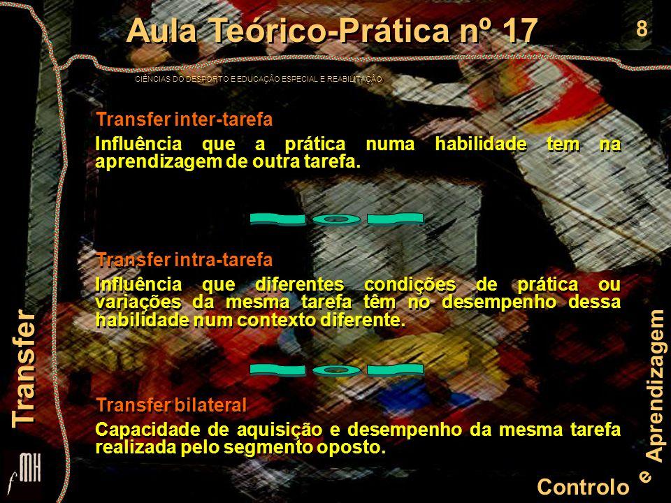 8 Controlo e Aprendizagem Aula Teórico-Prática nº 17 CIÊNCIAS DO DESPORTO E EDUCAÇÃO ESPECIAL E REABILITAÇÃO Aula Teórico-Prática nº 17 CIÊNCIAS DO DESPORTO E EDUCAÇÃO ESPECIAL E REABILITAÇÃO Transfer Transfer inter-tarefa Influência que a prática numa habilidade tem na aprendizagem de outra tarefa.