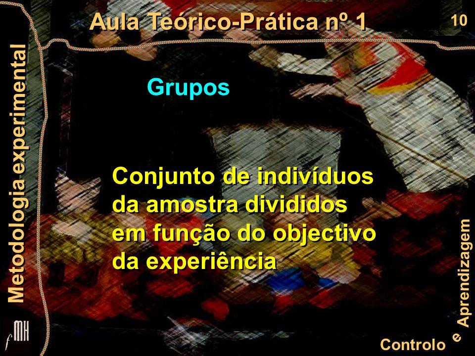 10 Controlo e Aprendizagem Aula Teórico-Prática nº 1 Metodologia experimental Grupos Conjunto de indivíduos da amostra divididos em função do objectivo da experiência Conjunto de indivíduos da amostra divididos em função do objectivo da experiência