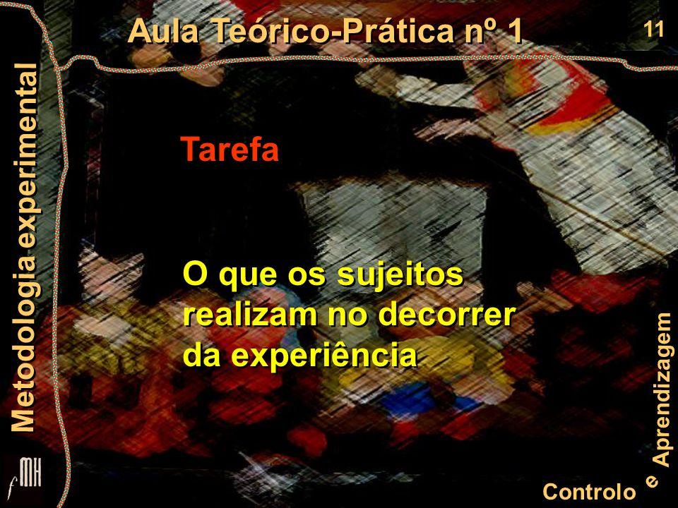 11 Controlo e Aprendizagem Aula Teórico-Prática nº 1 Metodologia experimental Tarefa O que os sujeitos realizam no decorrer da experiência O que os sujeitos realizam no decorrer da experiência