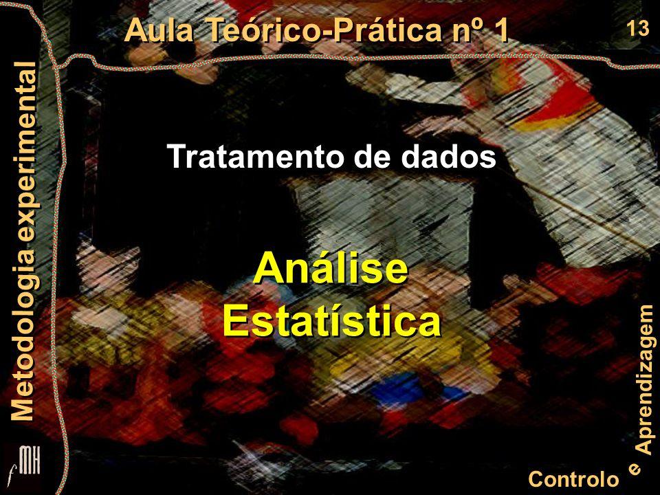 13 Controlo e Aprendizagem Aula Teórico-Prática nº 1 Metodologia experimental Tratamento de dados Análise Estatística Análise Estatística