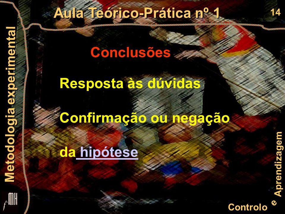 14 Controlo e Aprendizagem Aula Teórico-Prática nº 1 Metodologia experimental Conclusões Resposta às dúvidas Confirmação ou negação da hipótese hipótese