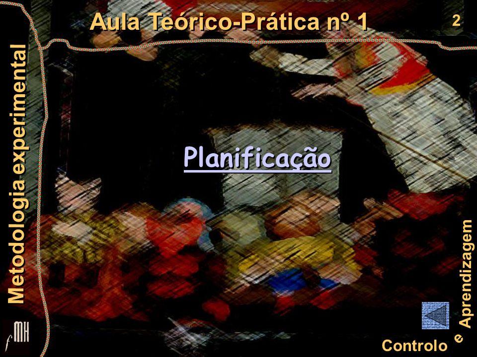 2 Controlo e Aprendizagem Aula Teórico-Prática nº 1 Metodologia experimental Planificação