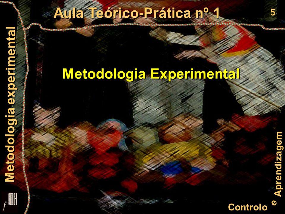 6 Controlo e Aprendizagem Aula Teórico-Prática nº 1 Metodologia experimental Problema Dúvida / Interrogação