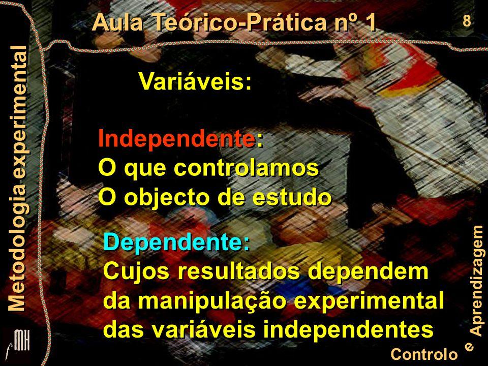 8 Controlo e Aprendizagem Aula Teórico-Prática nº 1 Metodologia experimental Variáveis: Independente: O que controlamos O objecto de estudo Independente: O que controlamos O objecto de estudo Dependente: Cujos resultados dependem da manipulação experimental das variáveis independentes Dependente: Cujos resultados dependem da manipulação experimental das variáveis independentes