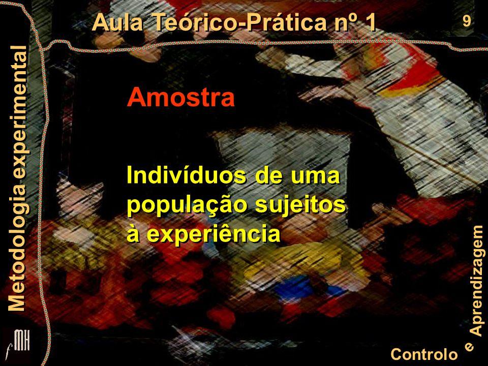 9 Controlo e Aprendizagem Aula Teórico-Prática nº 1 Metodologia experimental Amostra Indivíduos de uma população sujeitos à experiência Indivíduos de uma população sujeitos à experiência