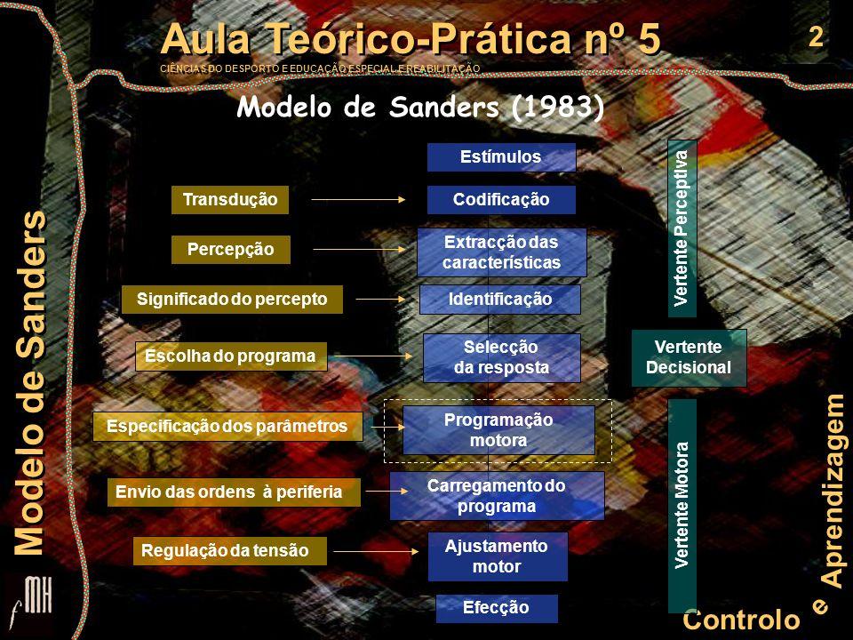 13 Controlo e Aprendizagem Aula Teórico-Prática nº 5 CIÊNCIAS DO DESPORTO E EDUCAÇÃO ESPECIAL E REABILITAÇÃO Aula Teórico-Prática nº 5 CIÊNCIAS DO DESPORTO E EDUCAÇÃO ESPECIAL E REABILITAÇÃO Modelo de Sanders Ajustamento motor Este estadio consiste na colocação dos músculos sob uma tensão óptimal, de forma a realizar o movimento desejado, (tendo em conta as diferentes condições do envolvimento).