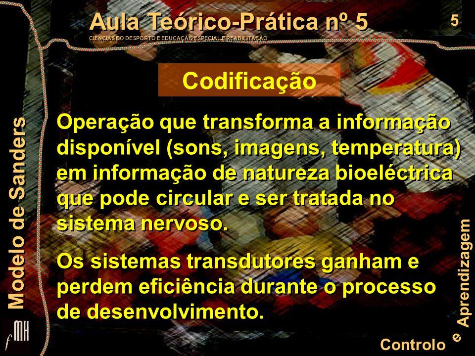 6 Controlo e Aprendizagem Aula Teórico-Prática nº 5 CIÊNCIAS DO DESPORTO E EDUCAÇÃO ESPECIAL E REABILITAÇÃO Aula Teórico-Prática nº 5 CIÊNCIAS DO DESPORTO E EDUCAÇÃO ESPECIAL E REABILITAÇÃO Modelo de Sanders Extração das características Durante o processo de percepção a estimulação física codificada, ou percepto, pode ser associada a um sinal conhecido, ou não.