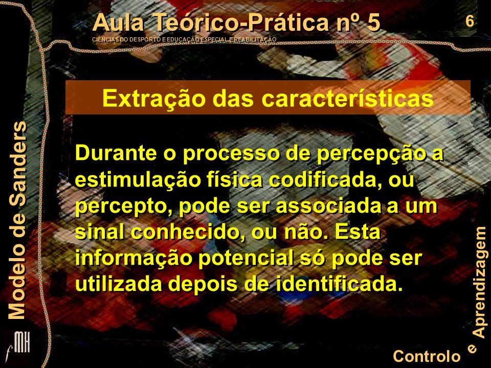 7 Controlo e Aprendizagem Aula Teórico-Prática nº 5 CIÊNCIAS DO DESPORTO E EDUCAÇÃO ESPECIAL E REABILITAÇÃO Aula Teórico-Prática nº 5 CIÊNCIAS DO DESPORTO E EDUCAÇÃO ESPECIAL E REABILITAÇÃO Modelo de Sanders Identificação O processo de identificação depende do conhecimento prévio de um sinal (características dos objectos).